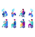 businessman and call center operator isometric 3d vector image vector image