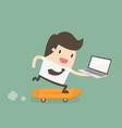 businessman on skateboard with laptop vector image vector image