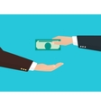 Businessman takes money from another businessman vector image vector image