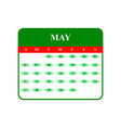 calendar may 2018 icons vector image vector image