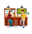 cartoon best friends watching football game in bar vector image