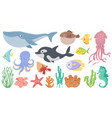 cartoon ocean animals funny blue whale cute vector image