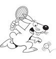 Cartoon rabbit playing tennis vector image vector image