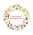 christmas card with flat xmas icons vector image vector image