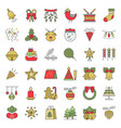 christmas ornaments icon set flat design editable vector image vector image