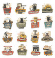 coffee cup mug espresso machine and bean icons vector image vector image