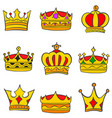 collection stock style elegant crown set vector image vector image