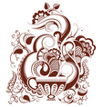 cup tea with floral design in mehndi style vector image