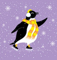 cute penguin with a scarf vector image vector image