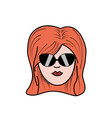 cute woman face with hairstyle and sunglasses vector image vector image