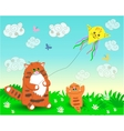 Dad and baby cats launch a kite vector image vector image