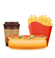 fast food icons hot dog coffee french fries stock vector image