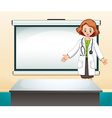 Female doctor in front of white screen vector image