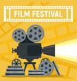 film festival camera reel concept banner flat vector image vector image