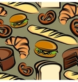 food background with baking items seamless pattern vector image