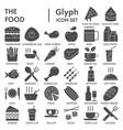 food glyph signed icon set dish symbols vector image vector image