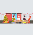 friends sitting at table having christmas dinner vector image vector image