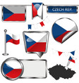 glossy icons with flag of czech republic vector image vector image
