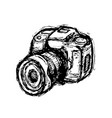 hand drawn dslr photo camera vector image vector image