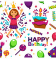 happy birthday party with balloons seamless vector image vector image