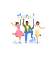 happy smiling woman and man welcome new people vector image vector image