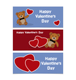 Happy Valentines Day Bear Banner vector image