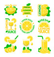 lemon natural juice badge emblems vector image vector image