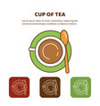 line icon cup of tea top view vector image vector image