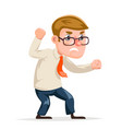 mad angry businessman guy character icon cartoon vector image vector image
