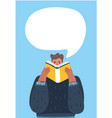 man reading a book with speech bubbles vector image vector image