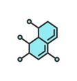 molecule atom dna flat color line icon vector image vector image