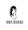 penguin in sunglass holding ice cream vector image