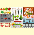 people working in food business and different vector image vector image