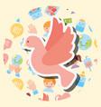 pink pigeon peace help kawaii charity image vector image