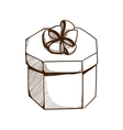 Present box with ribbon and bow vector image vector image