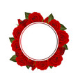 red rose flower banner wreath vector image vector image