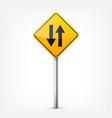 road yellow signs collection isolated on white vector image vector image