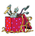 robot gift cleaning company vacuum cleaner vector image vector image