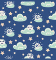 seamless pattern with clouds and moon vector image