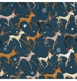 Seamless vintage dark blue pattern with galloping vector image vector image