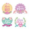 set mothers day badges in vintage vector image