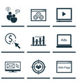 set of 9 advertising icons includes web page vector image vector image