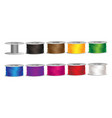 set of bobbins with colorful threads vector image