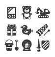 set of monochrome kids toys in flat style vector image