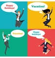 Set of people jumping in the air with happy vector image vector image