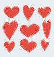set various simple red hearts on white vector image vector image
