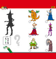 shadows activity game with fairy tale characters vector image vector image