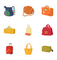 suitcase icons set cartoon style vector image vector image