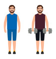 the bearded male athlete holds dumbbells the guy vector image