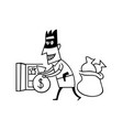 thieves steal money cartoon vector image